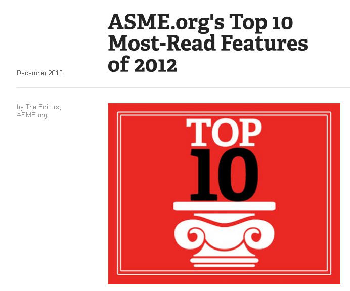 VI Ventures earns ASME's Top 10 Most Read Articles for 2012!